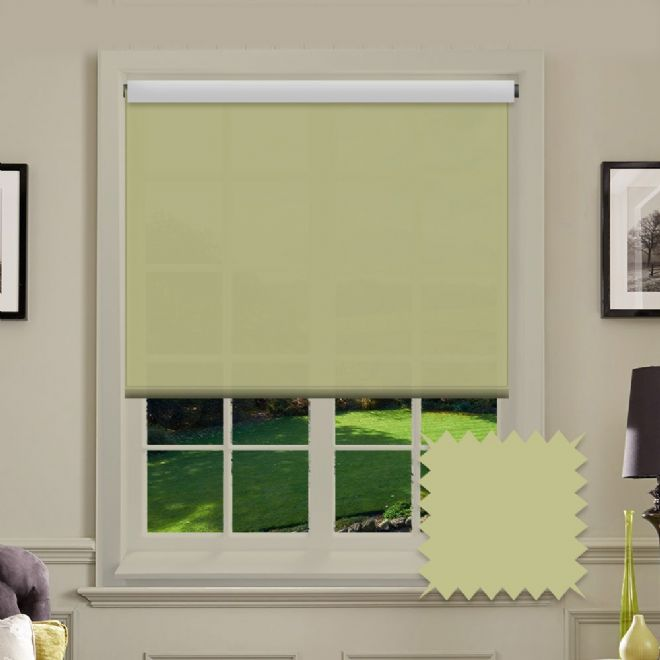 White Roller Blind - Astral Glade Light Green Plain - Just Blinds